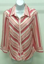 NWT NINETY WOMEN'S MULTI-COLOR STRIPED 3/4 SLEEVE BUTTON DOWN TOP BLOUSE SZ: M