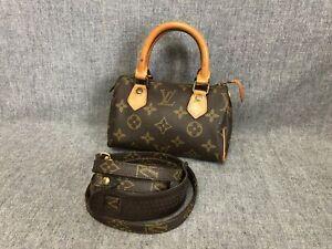 Authentic Louis Vuitton Monogram Mini Speedy Hand Bag M41534 with strap