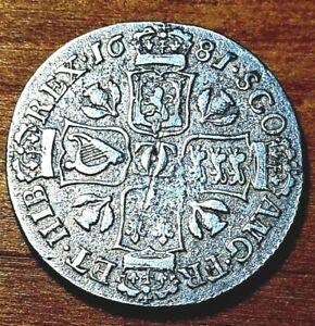 1681 Shilling Quarter Dollar Coin High Grade Scottish Rare Scotland Silver merk