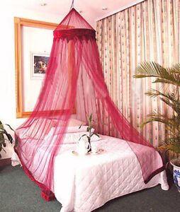 BURGANDY BED CANOPY MOSQUITO NET BEDROOM CURTAINS DÉCOR BUG INSECT FLY MESH BEE