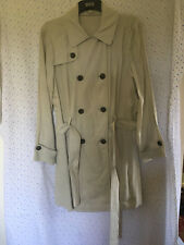M&S Ladies Stone (Natural) Linen Trench / Rain Style Knee Length Coat, size 16
