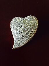 """Sparkling Stylized VintageHeart Pin Brooch Pave With White Rhinestones,  1 1/2"""""""
