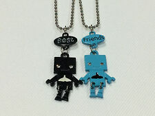 Best Friend Robot with Whale Tail on Belly 2 Pendant 2 Necklace Black / Teal BFF