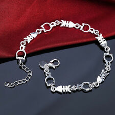 1pc Silver Ladies Unique Funny Lovely Cat Fish Beads Bracelet Bangle Stylish Hot
