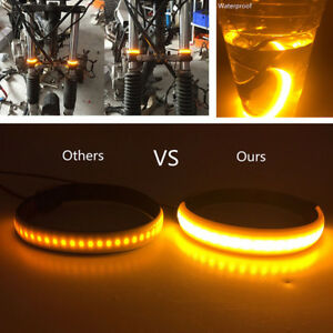 2x SMD LED Strip For Bike Motorcycle Fork Turn Signal Indicator Light Blink