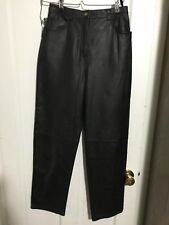 Copper Key Leather Pants Sz 14 Black 100% Leather Flat Front