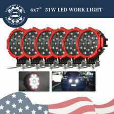 6pcs 7inch Led Work Light Bar Red Round Driving Fog Headlight Truck Off Road Us