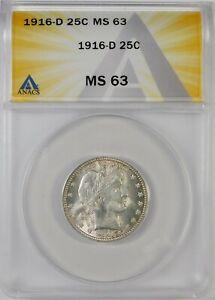 1916-D 25c Barber Silver Quarter Coin ANACS MS63