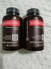 Amazon Elements Magnesium Oxide 400mg, Vegan, 65 Capsules 130 capsules lot of 2