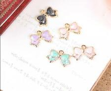 12pcs color bowknot Metal Charms pendants DIY Jewellery Making crafts 11*17mm