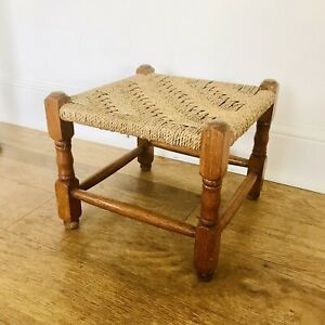 Vintage Woven Foot Stool Boho Plant Stand Paper Cord Retro