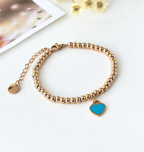 Lady 18K Rose Gold Filled 4mm Solid Ball Beads Love Heart Pendant Charm Bracelet