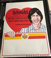Vintage Schmidt's Beer Poster David Brenner Prefered Over Bud In Blind Taste