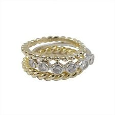 Gold-Tone Sterling Silver White Bezel CZ Braided 3 Rings Set (Size 5)