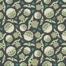 "Star Wars Mandalorian The Child Baby Yoda Fabric Cotton Flannel 1/2 YD 18""x44"""
