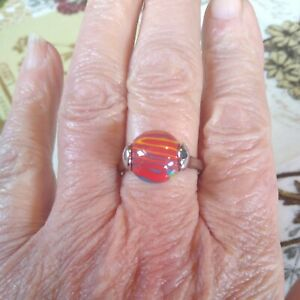 Art Decco red/ multi faux banded agate Silver Tone Ring Size T  New with tags