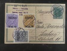1918 Vienna Austria to Lemberg Poland Airmail Cover # C1-C3 Postcard Overprints