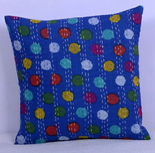 Blue Polka Dot Indian Cushion Cover Throw Kantha Pillow Case Bohemian Cushion 16