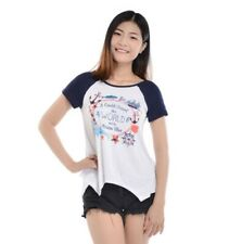 Woman's Graphic Tee White Blue Travel The World Adventure