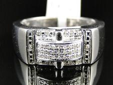 Mens White Gold Finish Black Diamond Designer Fashion Pinky Band Ring .20 Ct