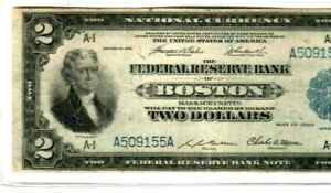 "$2 (BOSTON)  ""1914' ""FEDERAL RESERVE"" 1914 (HORSE BLANKET) $2 ""BOSTON"" CRISPY!!!"