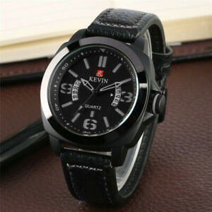 KEVIN Mens Quartz Wrist Watch Analog Sport Army Military Watches Leather Strap