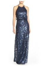 Donna Morgan 'Tiffany' Sequin Halter-Style Blouson Gown (Size 10)