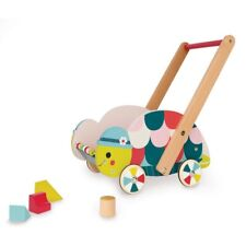 Janod Baby Forest Turtle Trolley Movable Wood Cart 12 Wooden Blocks Kids