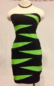 Lime Green & Black Stripe Pencil Dress Stretch Wiggle Dress SM VTG