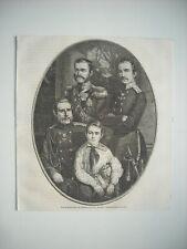 GRAVURE 1864. LES GRANDS-DUCS DE RUSSIE, NICOLAS, MICHEL, CONSTANTIN ET SON FILS