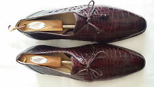 Hand Made Burgundy Genuine Alligator Dress Shoes size 13 by Maury! New!