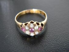 ANTIQUE VICTORIAN 15CT GOLD GARNET AND SEED PEARL RING! RING FROM 1891!
