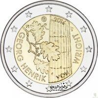 Pièce 2 euros commémorative FINLANDE 2016 - Georg Henrik Von Wright