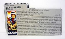 GI JOE LAW & ORDER FILE CARD Vintage Action Figure MP GOOD SHAPE 1987