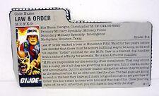 GI JOE LAW & ORDER FILE CARD Vintage Action Figure MP GOOD SHAPE 1987