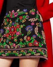 NWT ZARA Embroidered Mini Skirt Floral Boho Size S Ref.1381/040