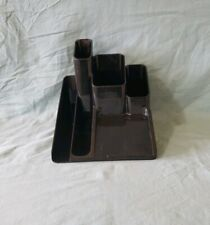 Vintage Rubbermaid Black Plastic Desk Organizer 6 Slot Container*