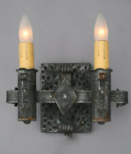1920s Hammered Spanish Revival Antique Wall Sconce Light (3223)