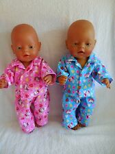 "BABY BORN 17"" DOLLS CLOTHES PINK OR BLUE HELLO KITTY FLANNELETTE PYJAMAS"