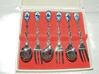 VINTAGE SILVER SET OF SIX DELFT FORKS & SPOONS SET IN BOX CUTLERY MARKED VP90