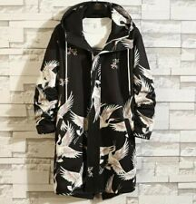 Men's Casual Trench Coat Hooded Jacket Mid Length Overcoat Outwear Printed Chic