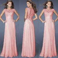 New Long Chiffon Prom Lace Evening Formal Party Ball Gown Bridesmaid Dress