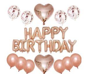 "16"" Rose Gold Birthday Decorations Confetti Latex Balloons Wedding Hen Party"