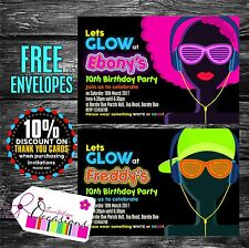 Personalised Birthday Invitations Glow Disco Party x 5