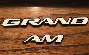 Pontiac White Grand Am Trunk Emblem Nameplate  GM OEM (Small)