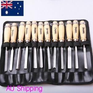 AU 12PCS Wood Carving Hand Chisel carver/woodworking/lathe Tool Set Kit w/ Bag