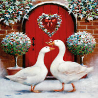 Charity Christmas Cards Pair of Geese Glitter Finish - Pack 5