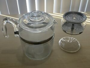 Vintage PYREX FLAMEWARE Clear 9 cup Coffee Pot Percolator 7759-B USA