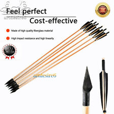 8X Turkeys Feather+Wood Shaft Archery Hunting Recurve Bow Mitsubishi ArrowHead