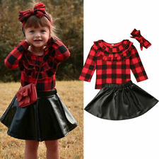 Toddler Baby Girls Long Sleeve Top Leather Skirts Dress Outfits Clothes Set